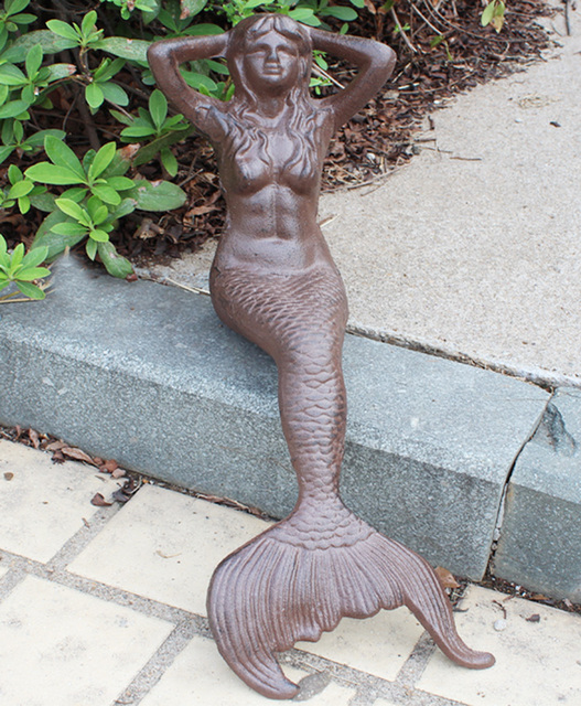 Cast Iron Mermaid Shelf Sitter Rust Finish Sitting Sunning Mermaid Statue  Home Courtyard Garden Hotel Pub