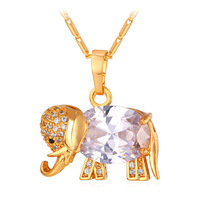 Glod Elephant Necklace Platinum 18K Gold Plated Cubic Zircon Women Fashion Jewelry Trendy Cartoon Gold Necklaces