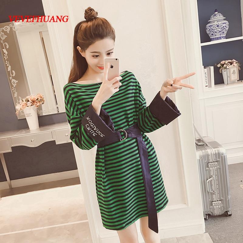 New Spring Women dress Knitting Striped Who Long Unlined Upper Garment Dresses Green Black And White L1533