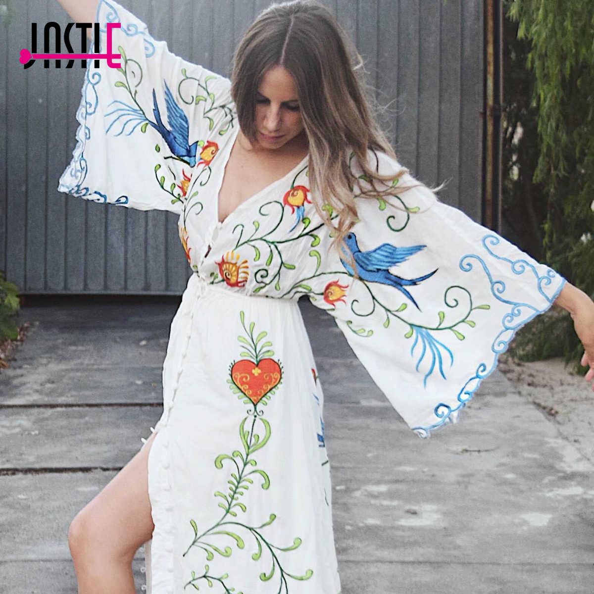 Jastie 刺繍女性マキシドレス V ネックバットウィングスリーブルーズプラスサイズ夏ドレス巾着ウエスト自由奔放に生きるビーチ Vestidos