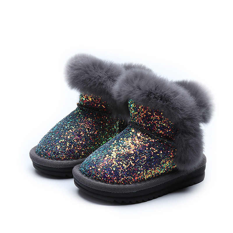 ... Bling Sequin Girls Boots Winter Shoes For Girls Pink Boots Children  Warm Rabbit Hair Snow Boots ... beff0270caf8