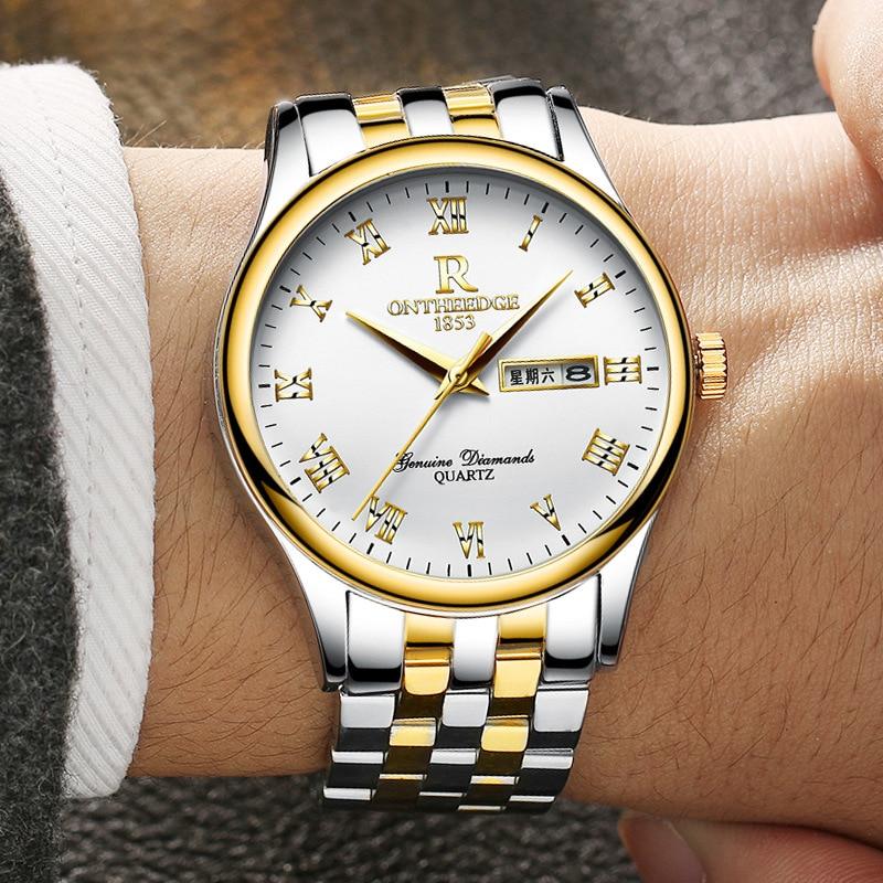 zegarki meskie men watch top Luxury waterproof Calendar Quartz men Clock Stainless steel Strap wristwatches hours reloj hombre