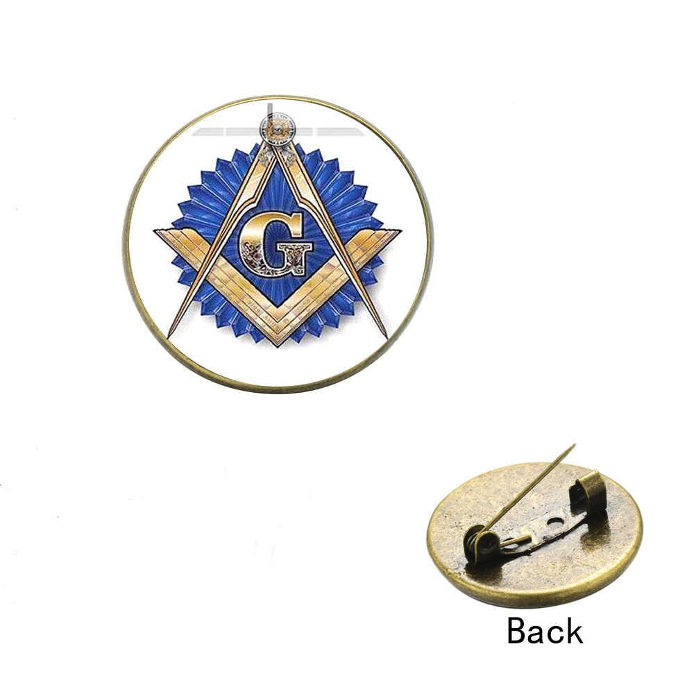 SIAN Illuminati Pirâmide Olho Broche Pin de Lapela Botão Cabochon De Vidro Quadrado & Compass Mason Maçonaria Membros Presente para Maçom