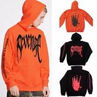2018 New Arrivals Cool Fashion Revenge Hand Letter Print Long Sleeve Orange Black Women Hoodies Sweatshirts