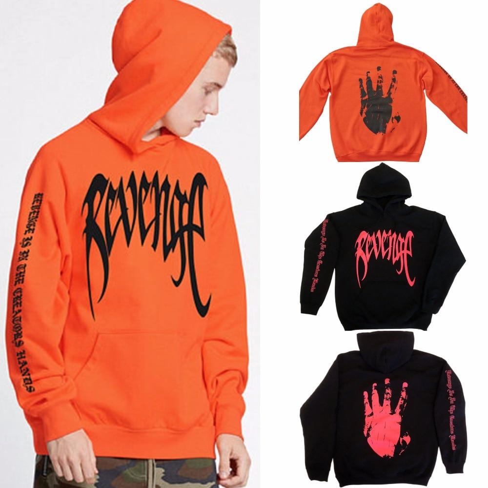 2018 neuheiten coole mode revenge hand brief drucken langarm orange schwarz frauen hoodies sweatshirts langarm pullover
