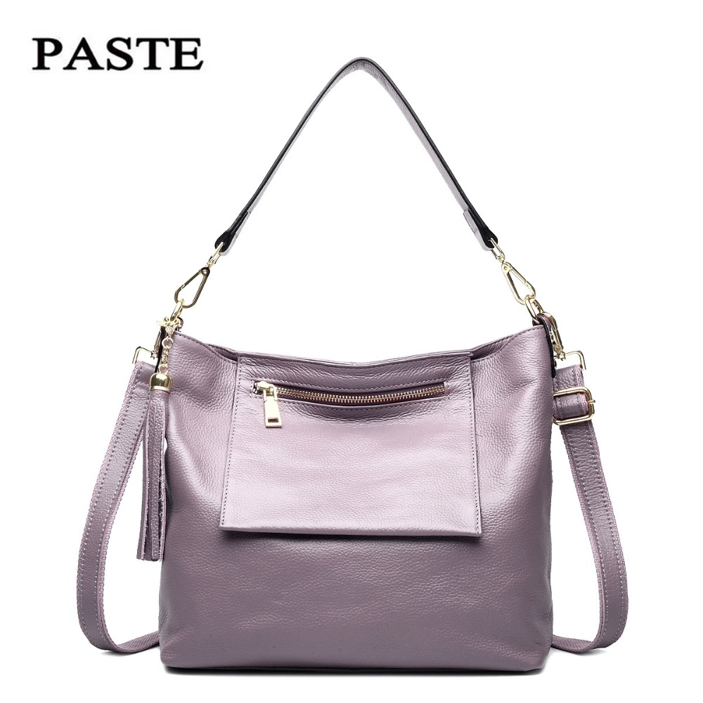 Luxury Brand Women Shoulder Bag soft genuine Leather Top Handle Bags Ladies Tassel Tote Handbag High Quality large capacity bags 2017 luxury brand women handbag oil wax leather vintage casual tote large capacity shoulder bag big ladies messenger bag bolsa