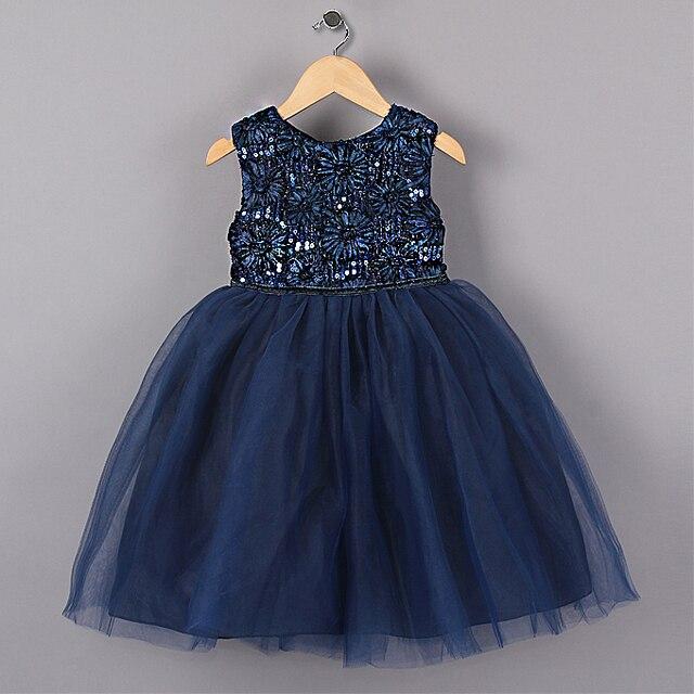 Новый Синий Принцесса Партии Девушки Платья Цветок Блестками Пачка стиль Свадебное Платье на Рождество одежда для девочек 3-7 лет