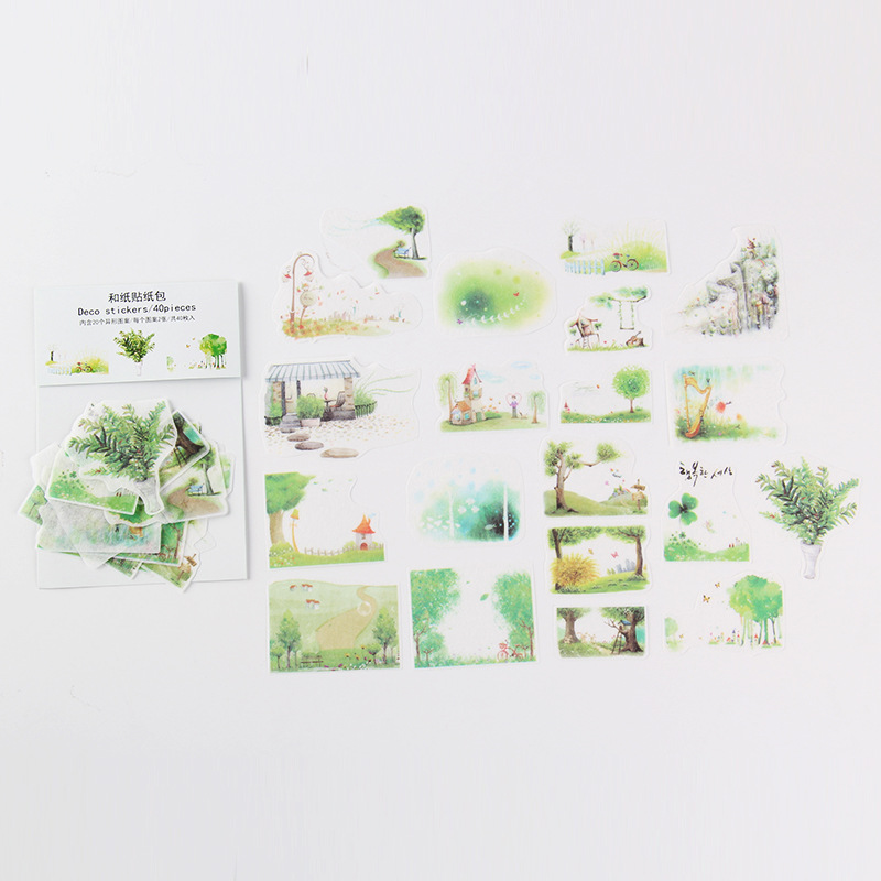 Green Mountain Streams Mini Bag Bullet Journal Decorative Stationery Stickers Scrapbooking DIY Diary Album Stick