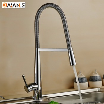 Kitchen Faucet Deck Mounted Brass Brushed Nickel Pull Out Rotary Kitchen Mixer Tap for Sinks Single Handle Hot and Cold Water nickel brushed pull out kitchen faucet sink mixer tap single handle hole deck mounted hot and cold water