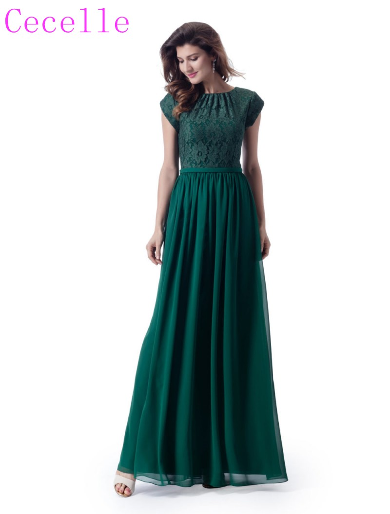 2019 Dark Green Lace Chiffon Long Modest   Bridesmaid     Dresses   With cap sleeve A-line Country Western Formal Modest   Bridesmaid   Gown