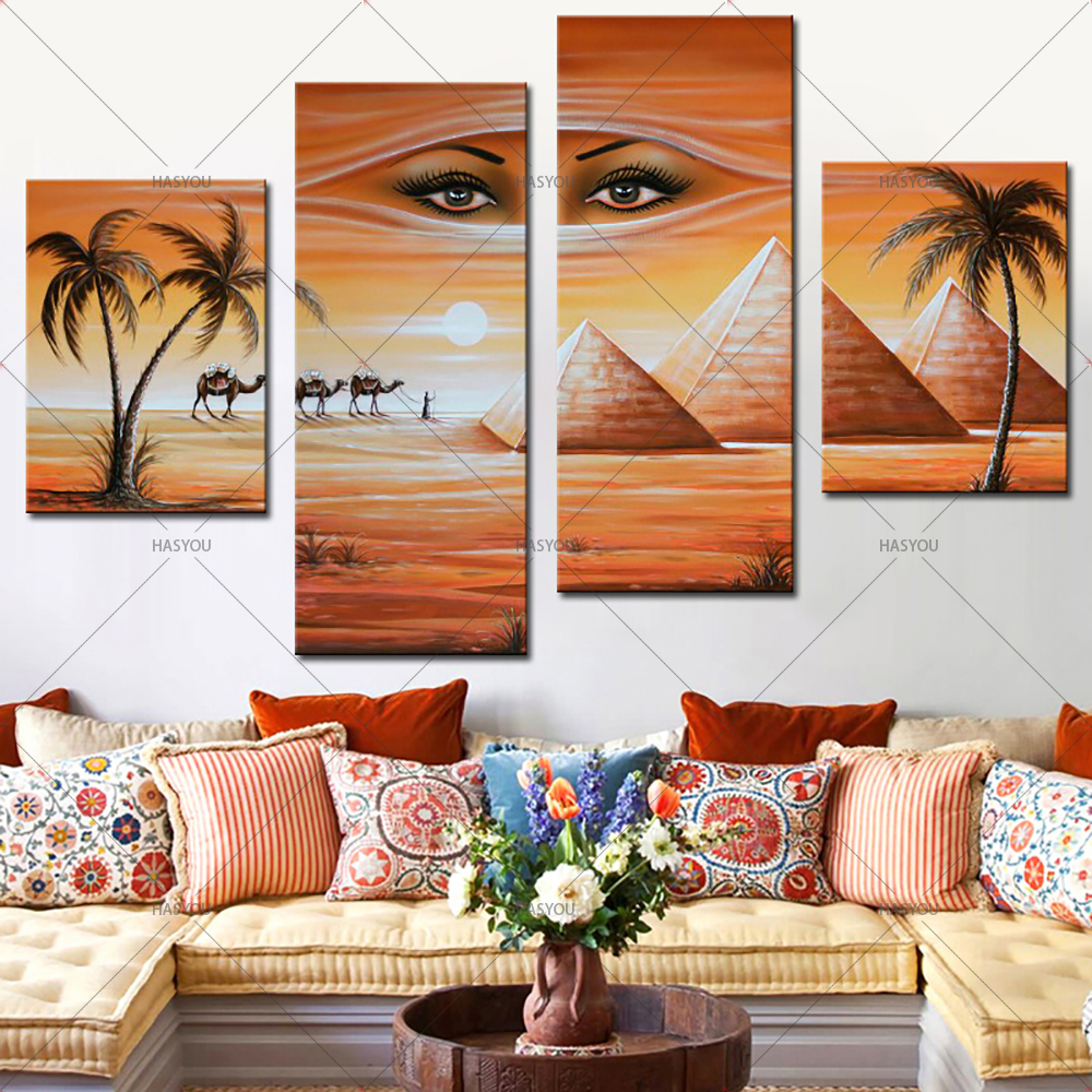 4 Panel Pictures Hand Painted Canvas Home Wall Decoration Oil Painting shifting sand land Set Modern Abstract Pictures in Painting Calligraphy from Home Garden