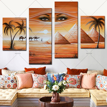 4 Panel Pictures Hand Painted Canvas Home Wall Decoration Oil Painting shifting sand land Set Modern Abstract