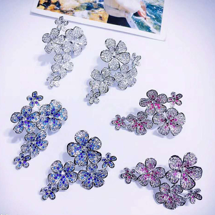 Bilincolor fashion silver color tiny cz blue multi flower high quality earrings for women