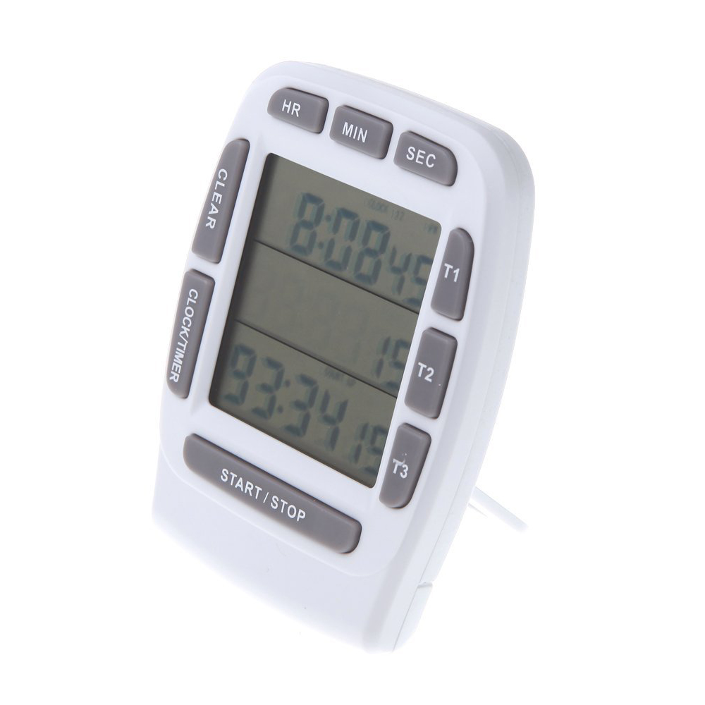 LCD Digital Alarm Timer with Triple Display 3 Line Timer Countdown Stopwatch
