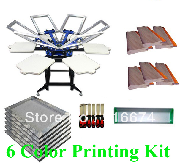 FAST and FREE shipping! 6 color 6 station silk screen printing kit t-shirt printer press equipment stretched frame squeegee flsun 3d printer big pulley kossel 3d printer with one roll filament sd card fast shipping