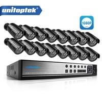 UNITOPTEK CCTV AHD Camera System Kit The 1080P 16CH AHD DVR Recorder IR 20M Outdoor Bullet
