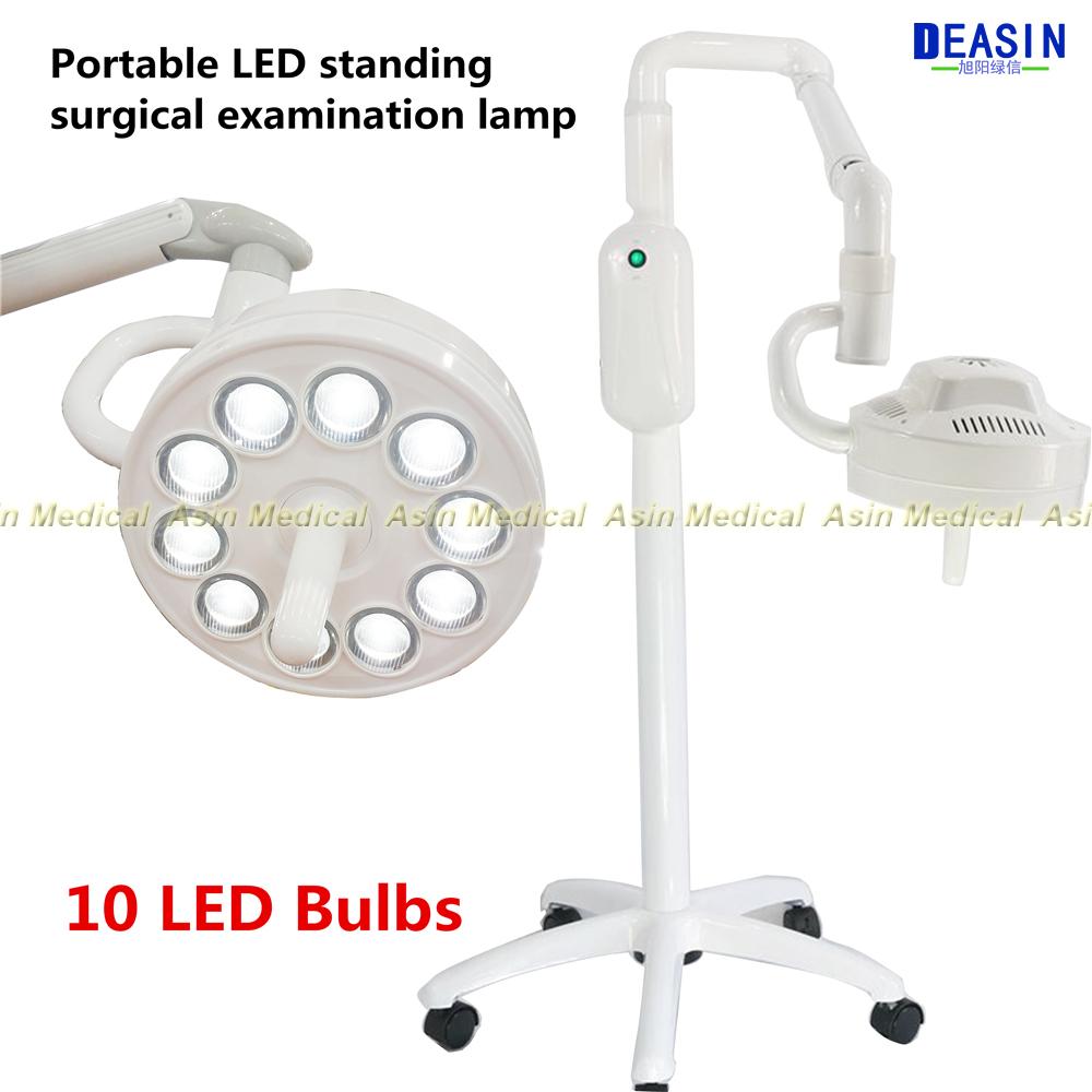 Floor standing portable Dental implanted shadowless lamp LED light Oral light examination lamp for medical surgical surgical stainless steel oral examination tool kit silver
