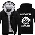 Hot New Polares Com Capuz Engrossar Irmãos Winchester Sobrenatural Logotipo Dos Homens de Lã Inverno Camisolas Frete Grátis