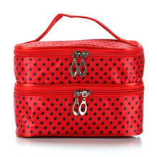 Fashion Travel Makeup Bag Portable Double-Layer Small Dot Cosmetic  Women Organizer Trousse Maquillage Femme