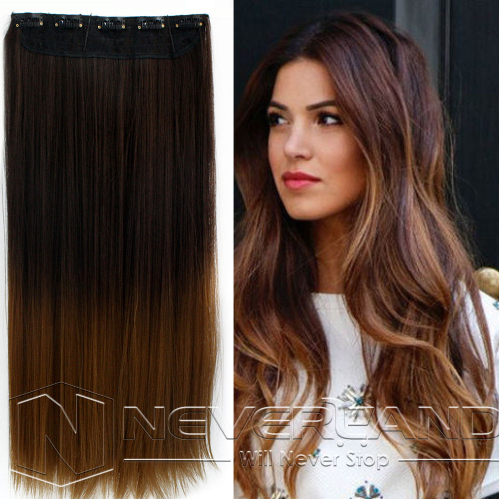 24quot One Piece Clip In Straight Synthetic Dip Dye Ombre Hairpiece Hair Ex
