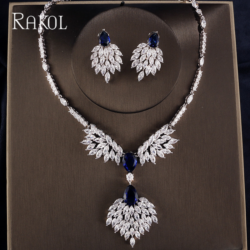 RAKOL High Quality Blue Zirconia Rhinestone Fashion Jewellery Wedding Jewelry Sets Long Crystal Drop Bridal Necklace And Earring viennois new blue crystal fashion rhinestone pendant earrings ring bracelet and long necklace sets for women jewelry sets