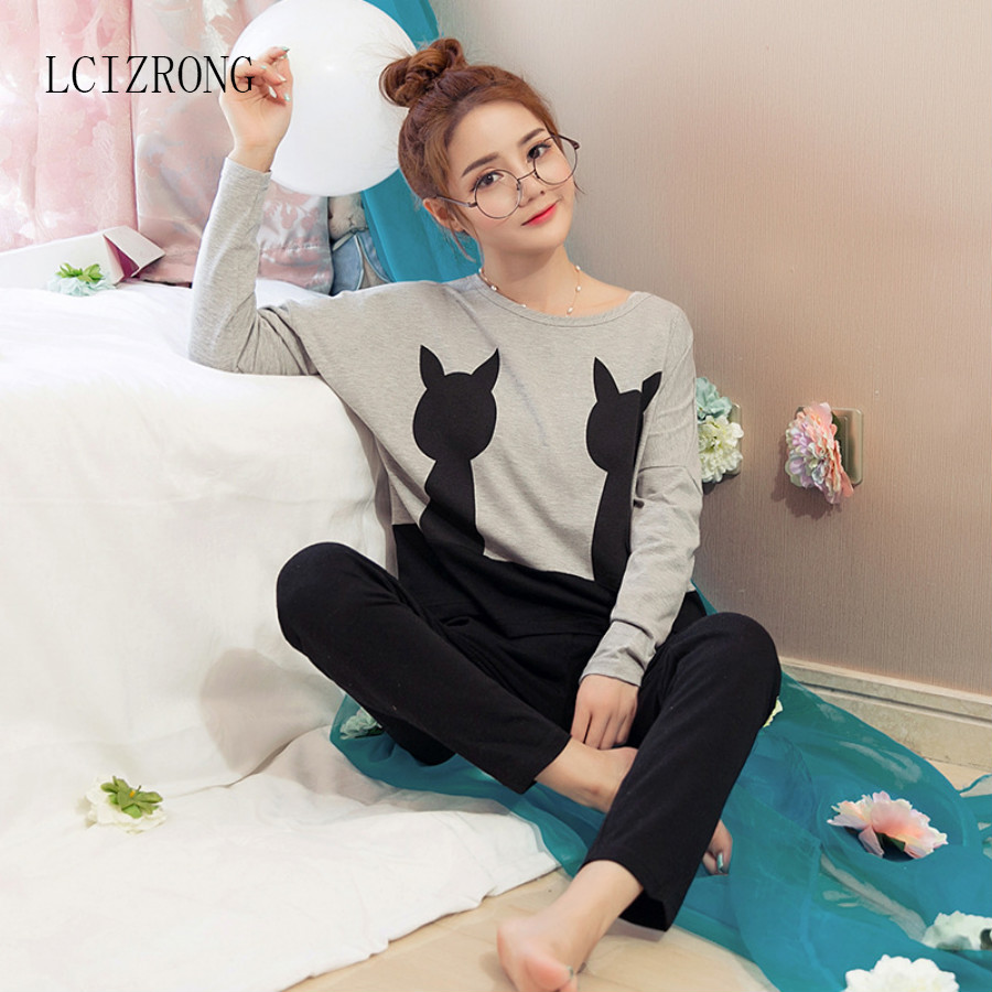 Loose Cat Women Pajama Set O-Neck Korean Cartoon Long Sleeve Sleepwear Home Ladies Nightgown Fashion Comfortable Nightshirt