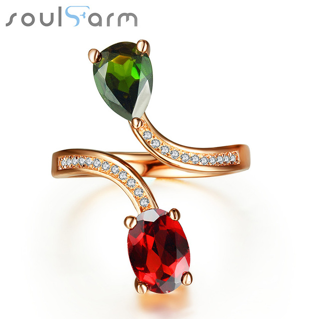 Genuine 925 Sterling Silver Party Cocktail Ring Garnet Jewelry for Party Engagement Anniversary Rings for Women Fine Jewelry