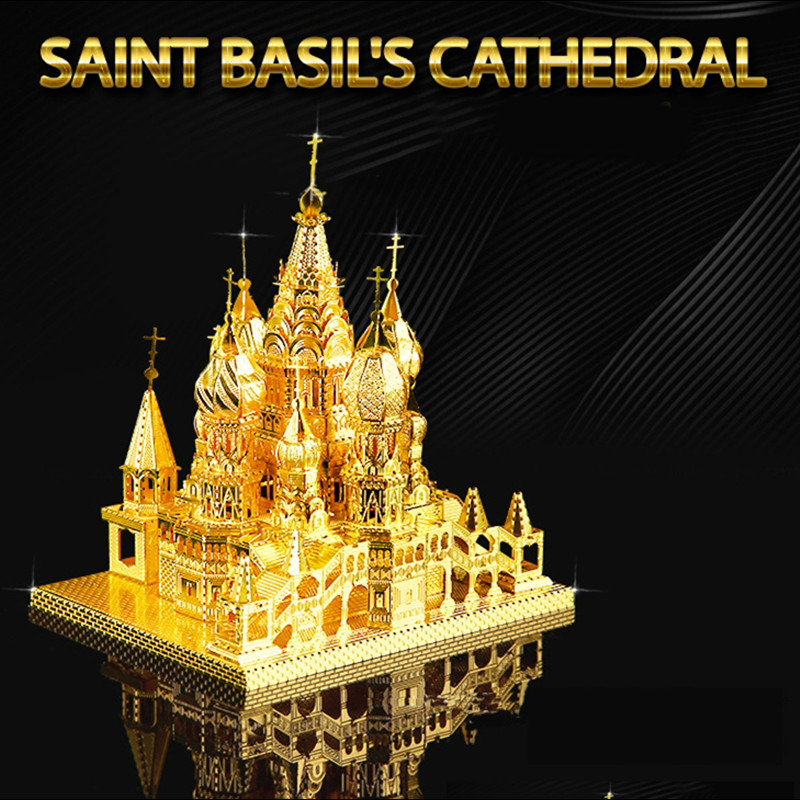 On sale 3D Metal Puzzle Educational Toys Jigsaw Puzzles Basil's Cathedral Taj Mahal Notre Dame Building Model DIY Kids Toys