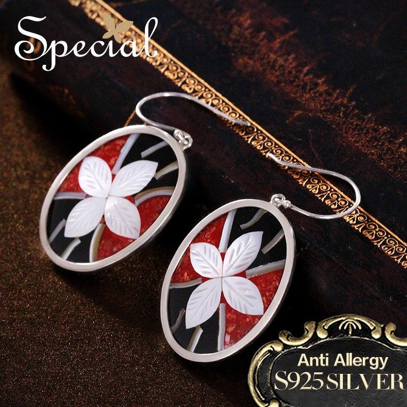 Special Brand Fashion 925 Sterling Silver Drop Earrings Enamel Ear Hook Sea Shell New Jewelry Gifts for Women S1650E shell detail hook earrings