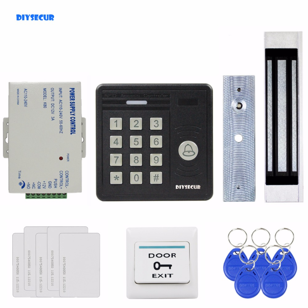 DIYSECUR Waterproof 125KHz Rfid Card Reader Password Keypad + 180kg Magnetic Lock Access Control Security Kit KS159 diysecur 180kg magnetic lock door lock 125khz rfid password keypad access control system security kit for home office