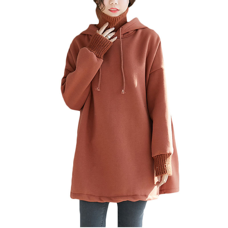 Knit Stitching High Collar Hooded Sweatshirts Femme 2018 Autumn Winter New Plus Velvet Thick Loose Large Size Long Hoodies LQ458