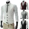 xxl suit vest mens dress waistcoats business office formal V neck button down men vest suit with Metal Chain free ship