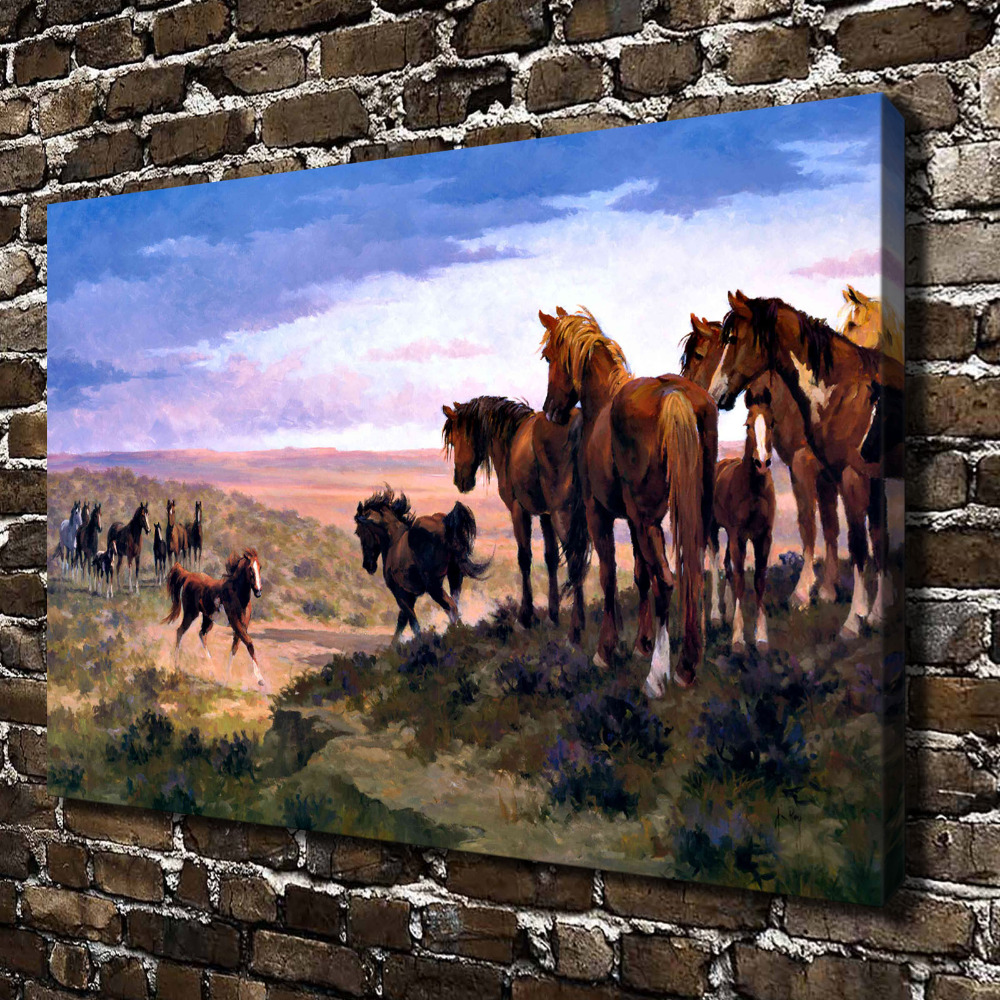 A0327 Natural Scenery Grassland Animals Horse. HD Canvas Print Home decoration Living Room bedroom Wall pictures Art painting
