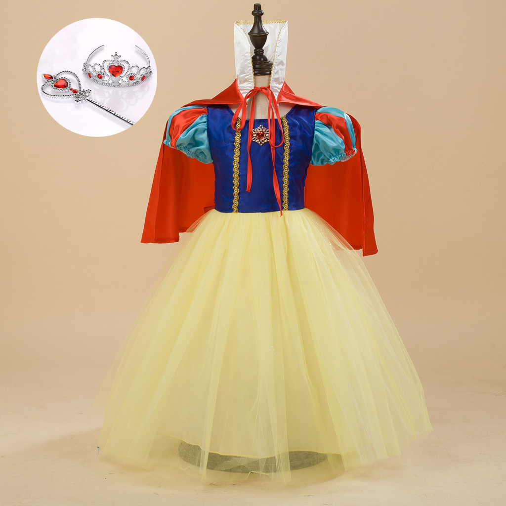 Fashion Halloween Children Clothes Toddler Girl Princess Snow White Dress with Accessories Carnaval Costumes for Kids gril flower dress multi storey white clothes stage girl performance children show clothes for dance with a pair of glove