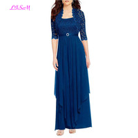 Chiffon Two Pieces Mother Of the Bride Dress Lace Long Evening Gowns with Jacket Plus Size Brides Mother Dresses for Weddings