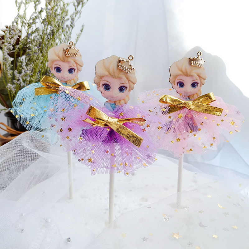 disney  HOT princess 3pcs/set Lovely Gift Decoration For Wedding Birthday Party Toys Cake decoration Topper Card Flags