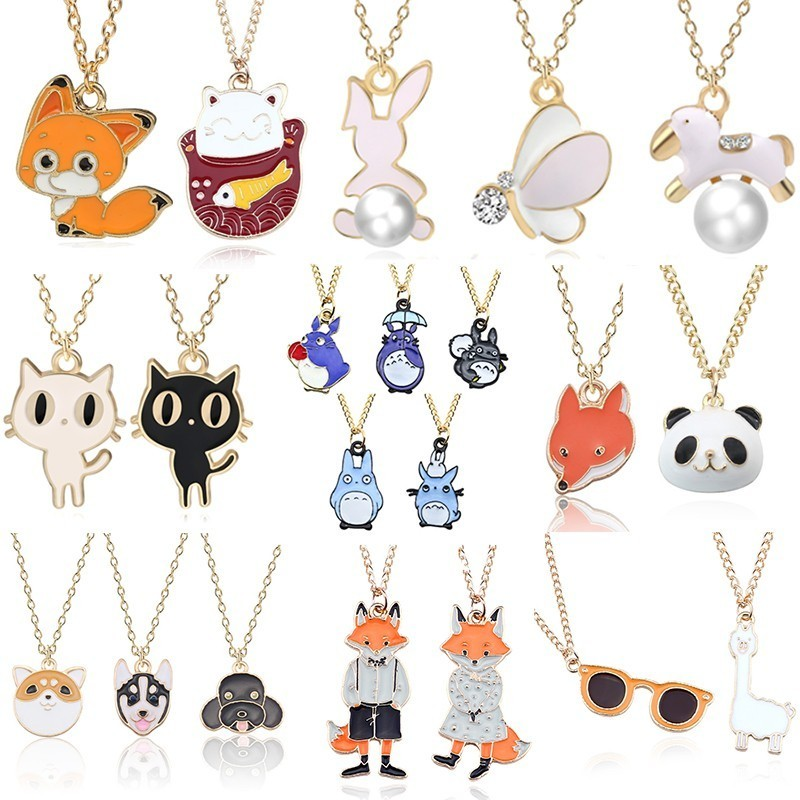 DIY Cartoon Enamel Dragon Bird Fox Rabbit Pendant Chinchilla Cat Necklace For Women Kawaii Animal Family Choker Jewelry Collares(China)