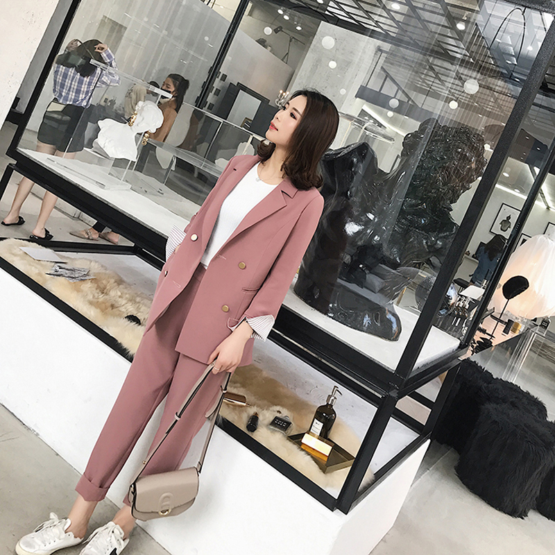 2019 Fashion Striped Sleeve Double Breasted Women Pant Suits Blazer High Waist Pencil Pant Solid OL Style Female 2 Pieces Set
