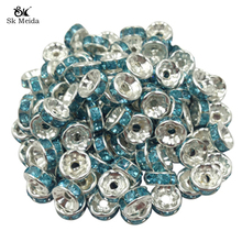 200pcs 8mm DIY Siver Plated Round Acrylic Crystal Spacer Loose Beads For Necklace Bracelet Beads Charm Jewelry Making OL-02