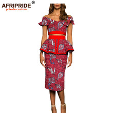 2019 african 2 piece outfits for women top and skirt set print dashiki plus size holiday off shoulder dashiki AFRIPRIDE A1926006