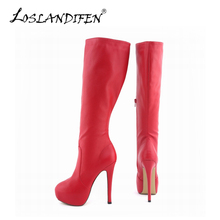 LOSLANDIFEN Womens Matte Leather Pointed Toe High Heels Autumn Winter Mid Calf Knee Wide Leg Stretch Boots US Size 4-11 819-6MA
