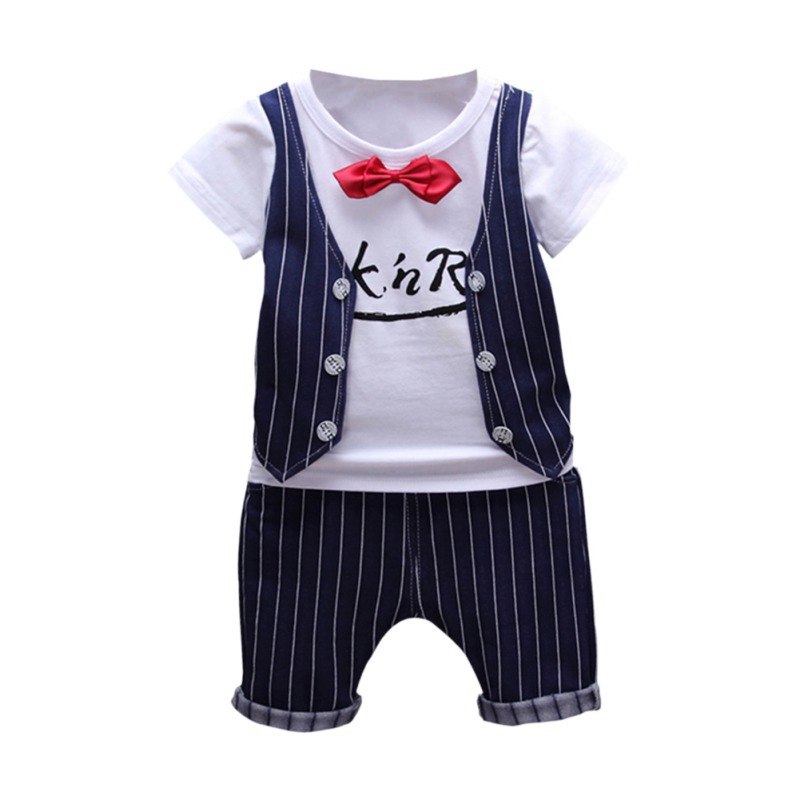 Summer Baby Boys Clothes Fake Two Pieces Short Sleeve T-Shirt Tops With Bow Tie+Stripe Shorts Casual  Formal Sets