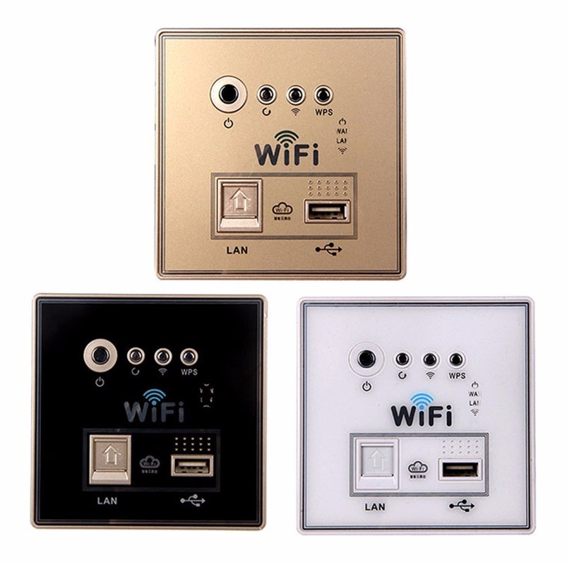 Image 2 - Home Smart Wall Socket Panel WiFi Router Repeater Home Intelligent Wireless Wifi Wall Sockets White/Gold/Black 1 Piece-in Electrical Sockets from Home Improvement