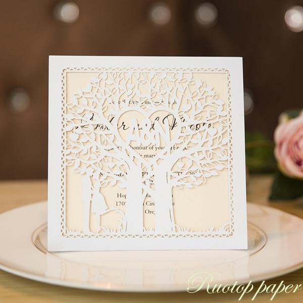Brides Wedding Invitation Kit: 50pcs Laser Cut 24colors Wedding Invitations Cards Kit For
