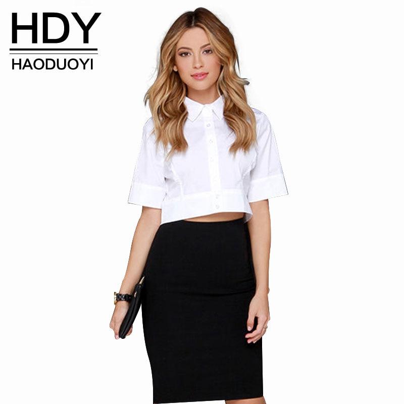 HDY Haoduoyi אירופה סתיו 2018 גבירותיי OL סלים חצי חיתוך קצר חולצות לבן חולצת קיץ קצר שרוול לראש לנשים