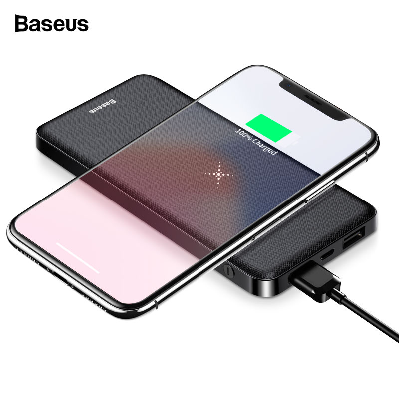 Baseus Wi-fi Charger Energy Financial institution 10000Mah Twin Usb Powerbank Exterior Battery Wi-fi Charging For Iphone Xs Max Samsung S9
