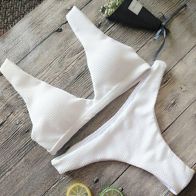 Белый бикини 2017 купальники Для женщин купальник Maillot De Bain Femme бикини купальный костюм бикини Push Up бразильский синий бикини
