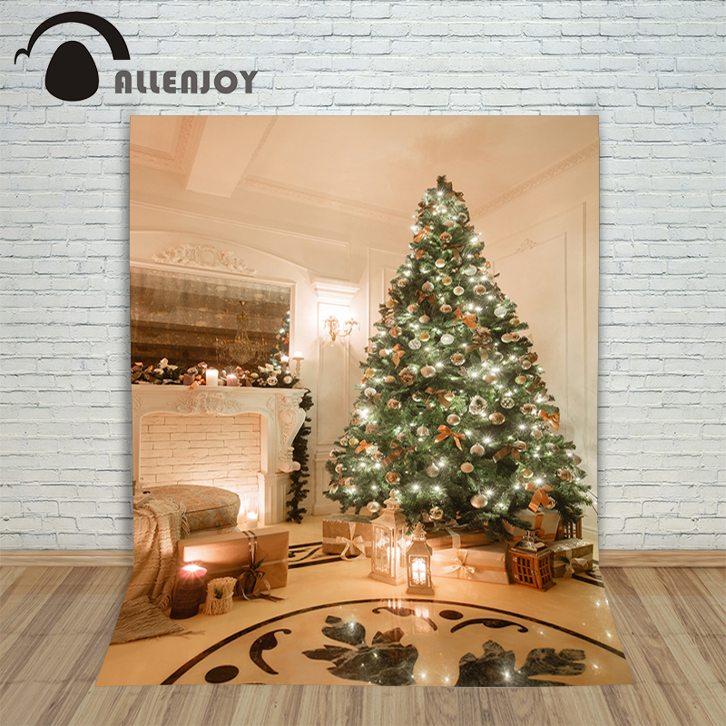 Allenjoy Christmas backdrop Tree fireplace lamp shiny new year elegant professional background pictures vinyl fabric