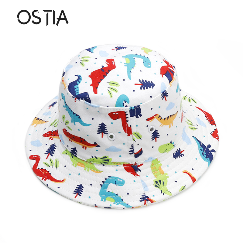 Children Boys Cartoon Dinosaur Bucket Hat Cotton Summer Beach Kids Baby Sun Cap Boys' Accessories Hats