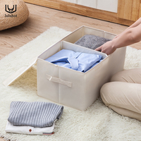 luluhut new fabric double cover storage organizer household underwear bra socks container foldable washable shirts storage box